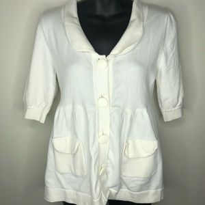 525 America white babydoll chunky button sweater